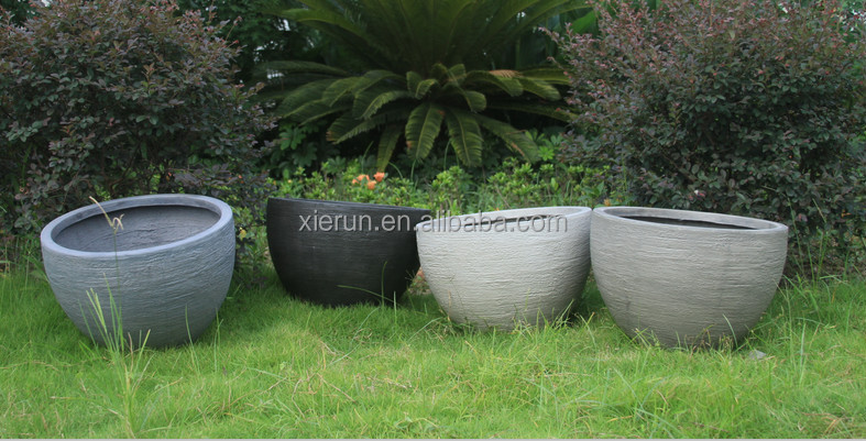 Rich Smooth Cement Color Bowl Biodegradable Flower Pots