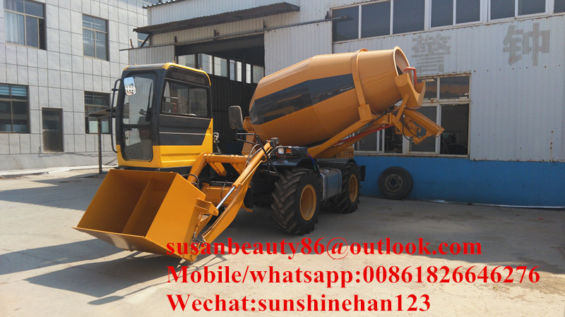 LONGJIU 10 cubic meters self loading mobile concrete mixer
