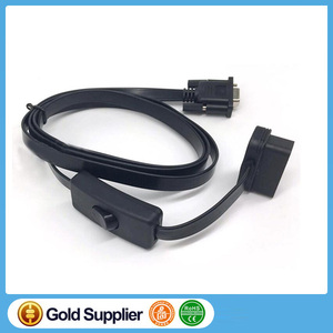 16PIN TO DB9 Serial RS232 OBD2 Cable With Switch Auto Scanner Convert Adapter DB9 Female to OBD2 Male Connector Socket