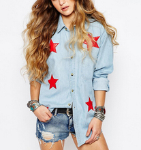 4112 dingyang ladies hot sale star printed denim blouse
