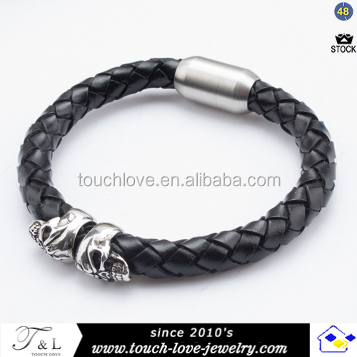 new products 2016 men's bio magnetic leather bracelet