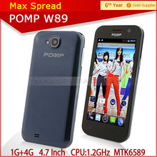 Newest 1g ram 4g rom 4.63 inch screen original Pomp W89 1.2 GHz quad core-CPU MTK6589 handphone android