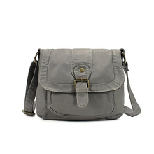Simple design ultra soft washed leather crossbody bag for women