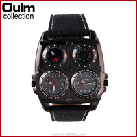 oulm compass &thermometer chinese wrist watch with multiple time zone leather strap watches