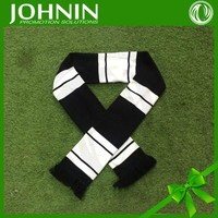 custom brand name on black and white fan knitting scarf