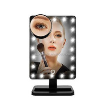 Tabletop LED Lighted Makeup Mirrors Touch Screen 180 Degree Free Rotation Movable Cosmetic Vanity 10x Magnifying Spot Mirror