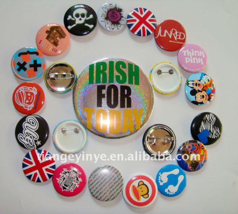 round personalised badges pin