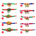 Women National Fabric Flower Bells Bracelet Handmade Cotton