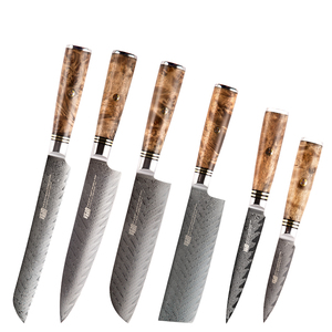 FINDKING 6 PCS AUS-10 Damascus Steel Sapele Wood Handle Arrow Pattern Damascus Knife Set 67 layers Chef Utility Paring Knife