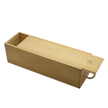 Single bottle visible batten wooden wine box with rope handle and sliding lid