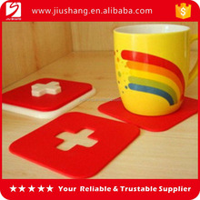 Red square pvc silicone coaster with embossed logo