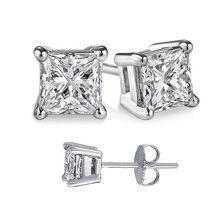 Factory direct square white cubic zircon earrings 18K platinum plated women girls