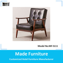 Dubai black leather chair wooden sofa furniture MF-S111
