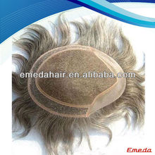 New 2014 products indian hair toupee gray toupee for men