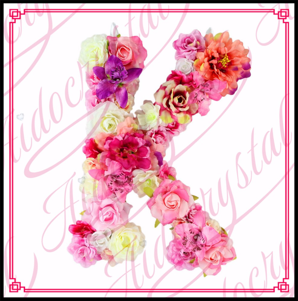 Aidocrystal high quality alphabet letters hanging wooden bead door floral letter <strong>K</strong>