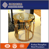 Newly design stainless steel/Chrome base/legs coffee table marble top JD-CJ-018