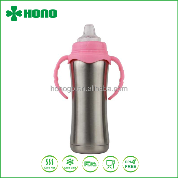 8oz stainless steel insulated baby feeding bottle with handle