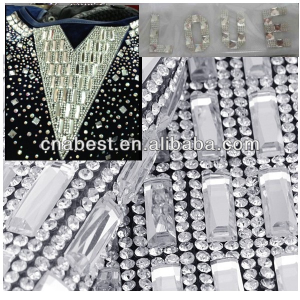 2016 fashion glue mesh adhesive rhinestone trimming for garment,bag,shoe,hat