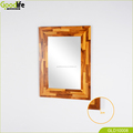 Chinese Goodlfe housewear Finger joint teak wood wall mount bevel smart design glass fancy mirror