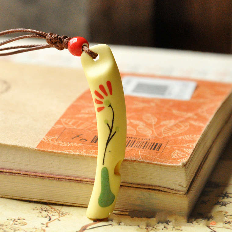 National Style Hand-painted Whistle Ceramic Necklaces
