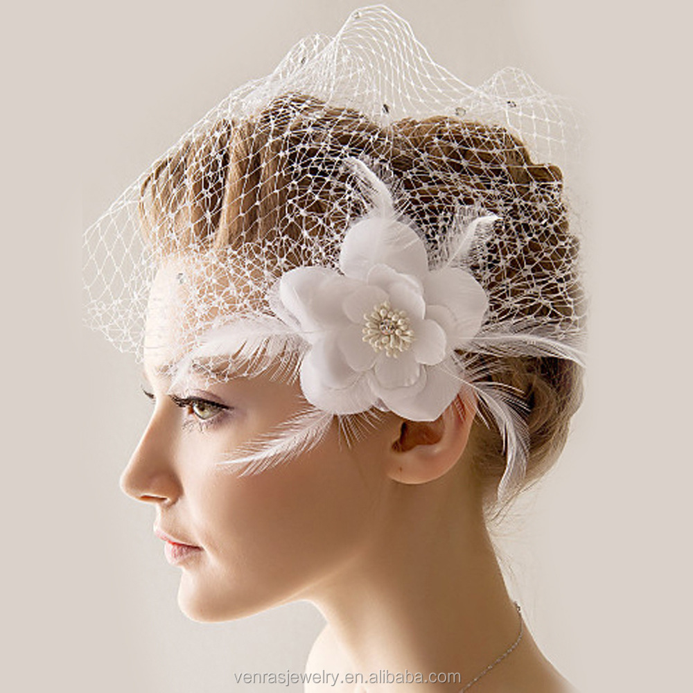 Venras Jewelry bridal veil trim with Father flower white hair accessories for wedding