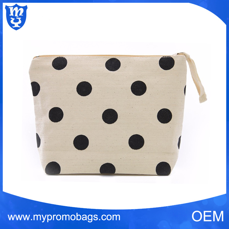 Zipper Cosmetic Bags Canvas Make up Pouch cosmetic bag polka dot