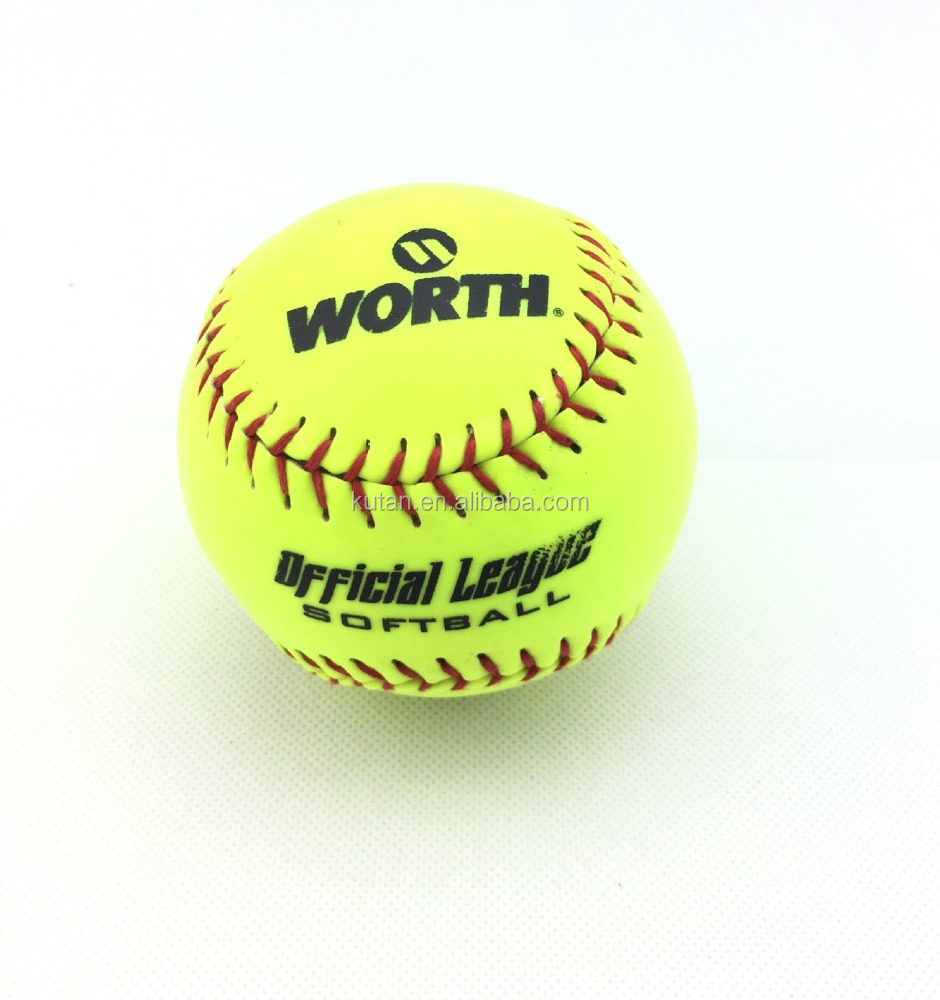 "12"" inch custom logo printing PVC or PU split leather Softball with cheap price"