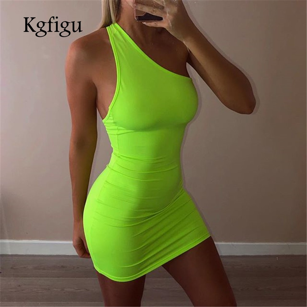 Women one shoulder neon green dress 2019 Summer one piece mini bodycon dresses sexy skinny vestidos womens clothing