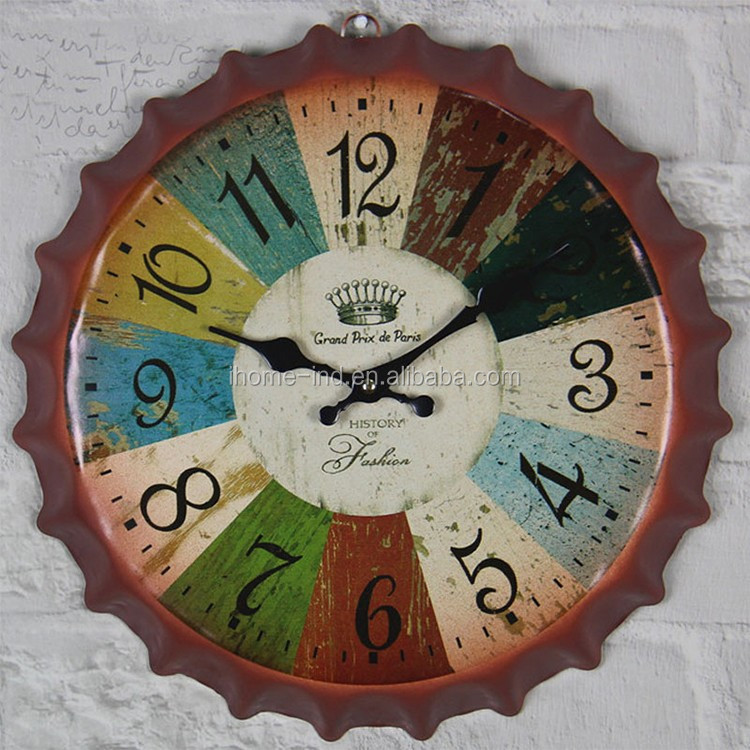 new design Beer cap shape clock antique vintage clock