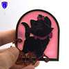 US custom limited edition metal glitter pin window glass translucent hard enamel lapel pin badge in cut out with cute cat design