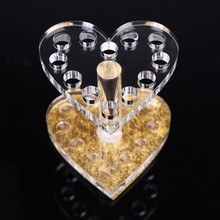 New 1 Pcs Heart Shape Nail Art Makeup Brush Pen Holder Stand Acrylic UV Gel Brush Rest Holders For Nail Decorations