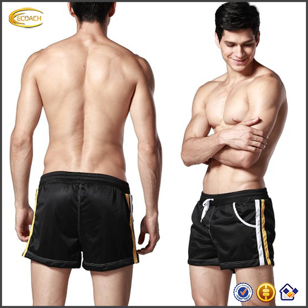Ecoach Wholesale OEM Hot Sale Men 100% Polyester Mesh Pocket Shorts Summer Swim Beach shorts Running Elastic Waist Pants for Man