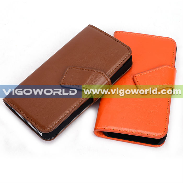 Black/Orange Leather Wallet Carry Book-Style Case ID Credit Card Slot Pouch Magnetic Closing Flap Cover Cell Phone For iPhone 4