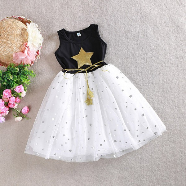 W2113 New Fashion Sequin Star Girl Dress Party Birthday wedding princess baby Girls Clothes Children Kids Girl Dresses