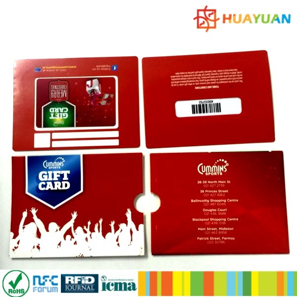 Custom Printing CR80 Plastic gift card with card holder sleeve for promotional