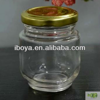 Wholesale 130ml Round Glass Candy Jar With Golden Metal Lid