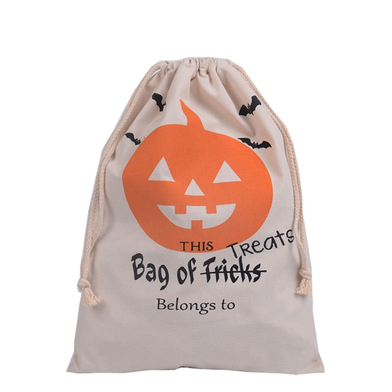 2016 New Halloween Candy Gifts Bag Drawstring Bag Cotton Canvas 36X48CM Kids Pumpkin Spider Tote Bags