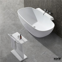 Popular design quality white luxury stone resin bathtub