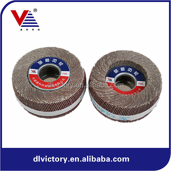 200x50x25.4mm Grit 180# aluminum oxide flap wheel with small wood hole for polishing and grinding stainless steel