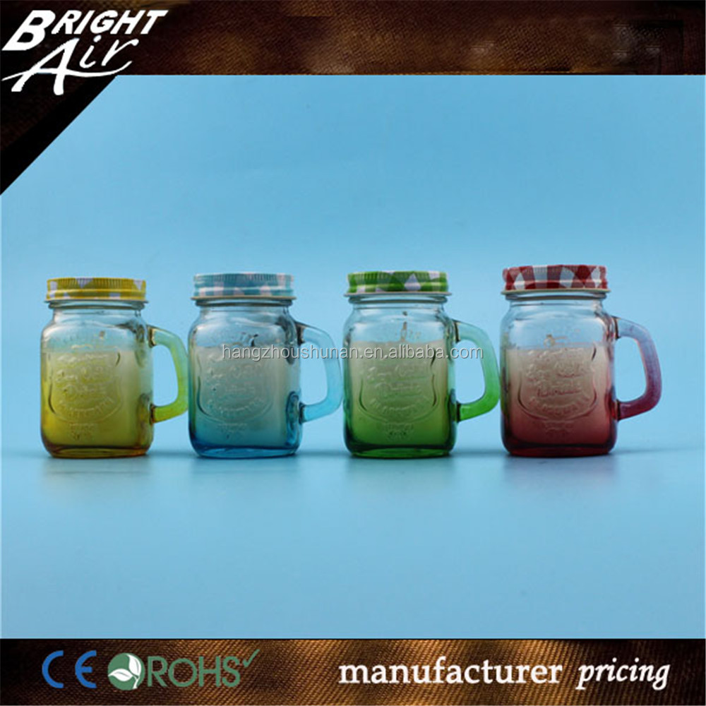Customize buring wax candle in decorative glass jars