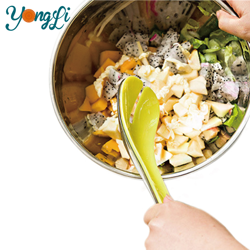 Multi-function Kitchen 3 in 1 Salad Food Tongs Plastic Food Service Tongs