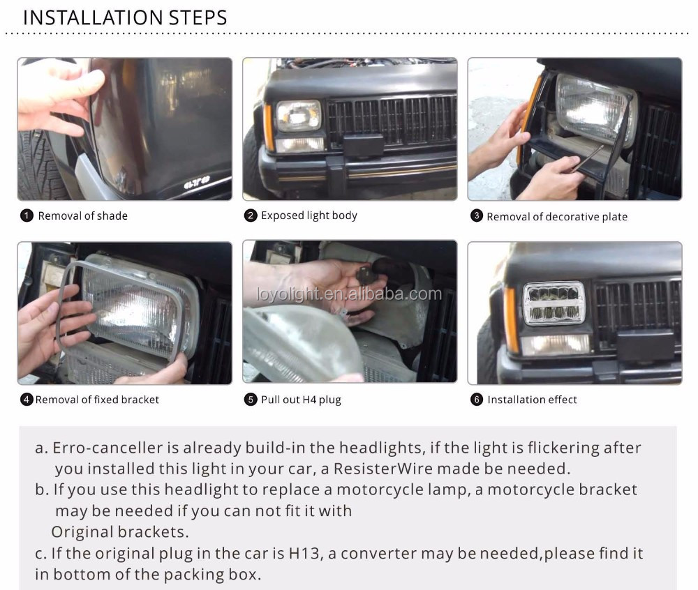 "Best lighting rectangle 4x6 jeep headlight for truck car 45w 5"" led driving light"