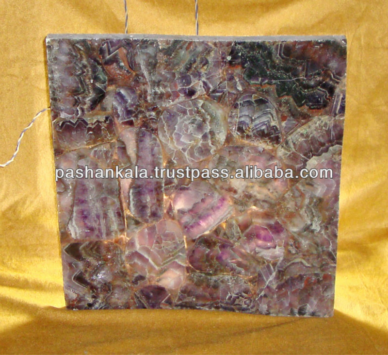 Amethyst Stone Backlit Tile , Gemstone Amethyst Flooring Tile