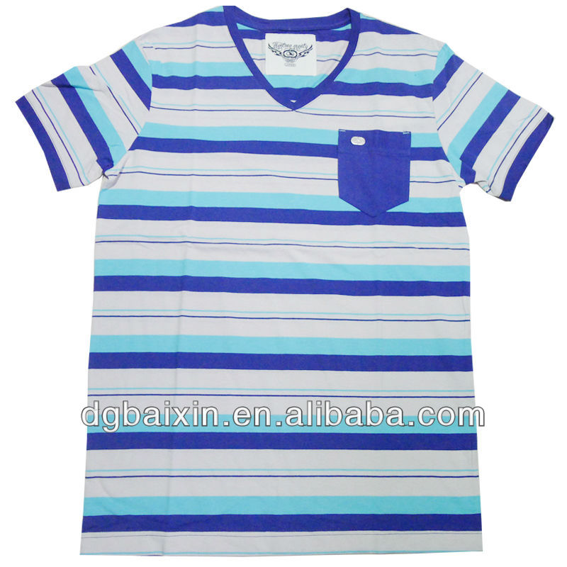 2013 brand fashion striped multi-color t-shirt
