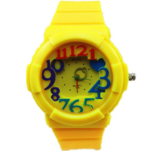 hot sale womage brand colorful big numbers 12colors pu plastic band lady vogue wrist quartz watch