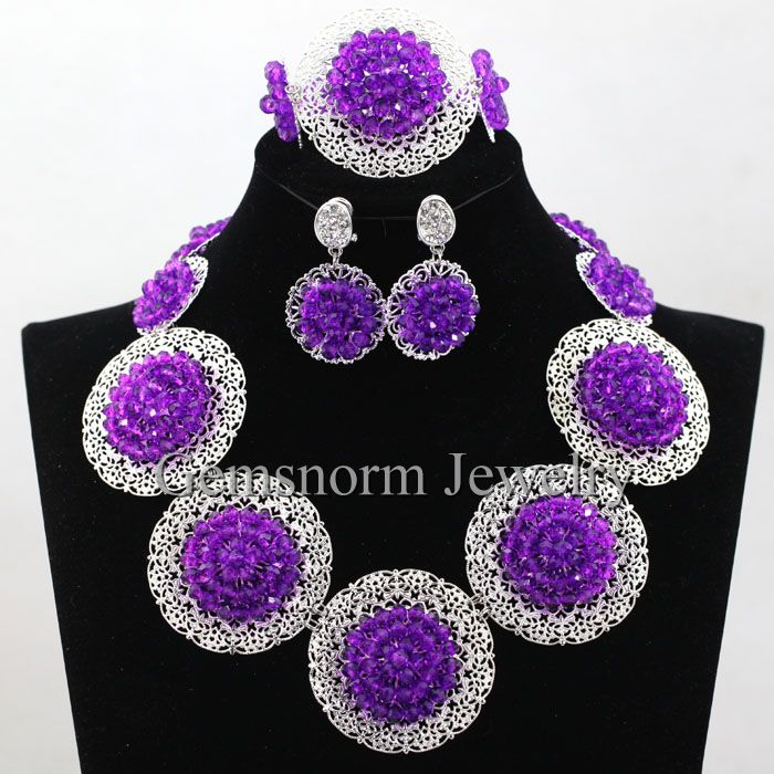 2016 fashion wholesale african purple crystal beads jewelry set 925 sliver accessories for women wedding bridal jewellery