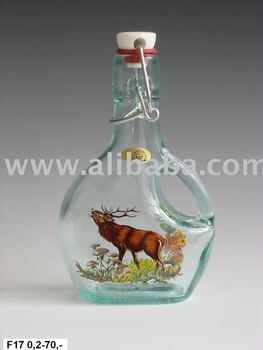 imprinted glass bottle