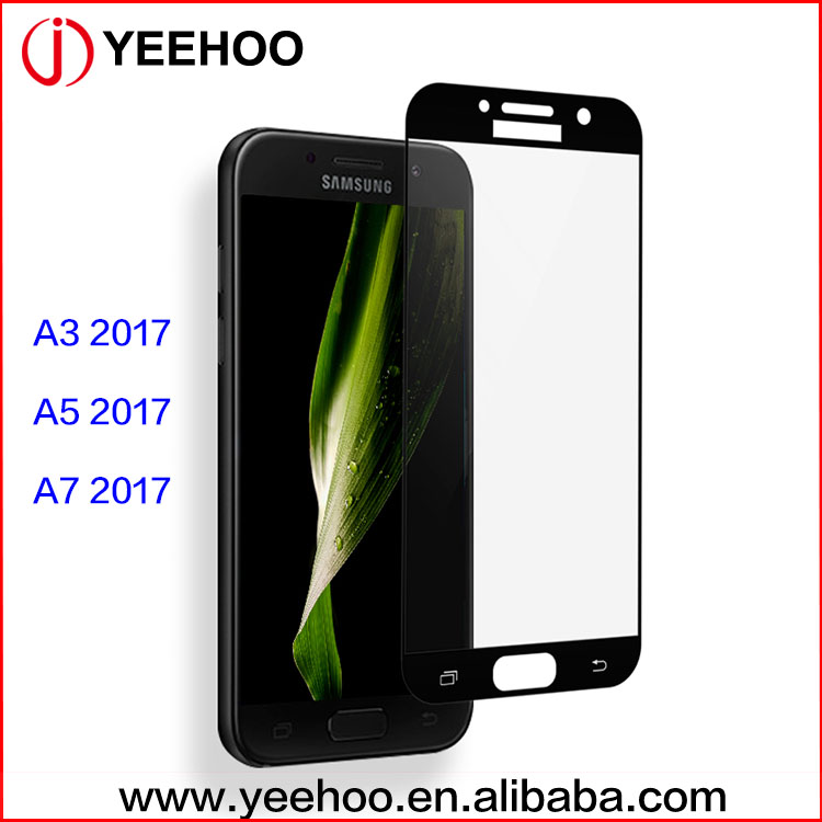New arrivals 2017 full cover colored tempered glass screen guard for samsung galaxy A3 2017