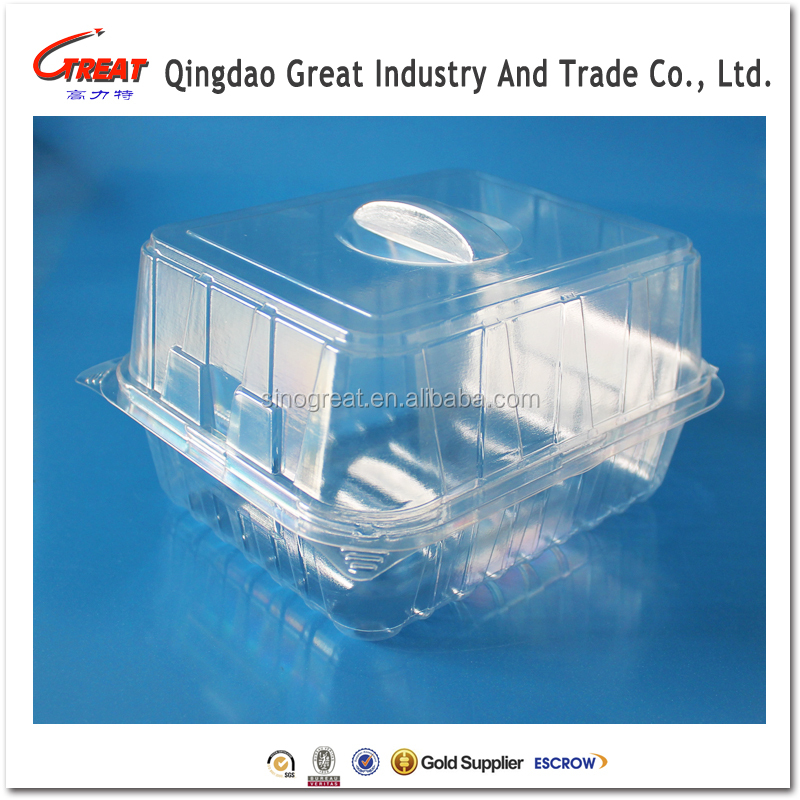 High quality rectangular clear plastic PET bread storage box, food grade cake container