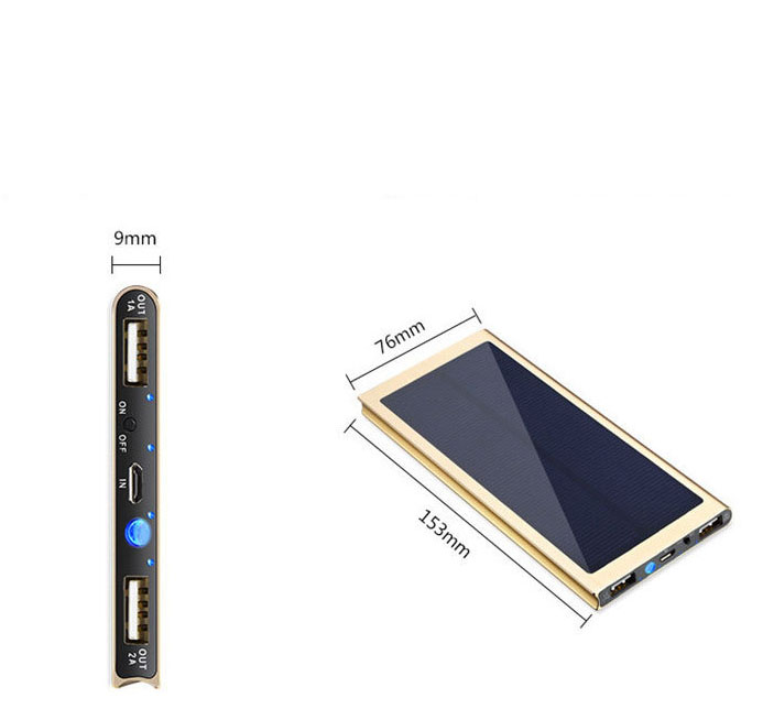 8000mah solar panel power bank universal powerbank ultra thin slim design suitable for outdoor power bank
